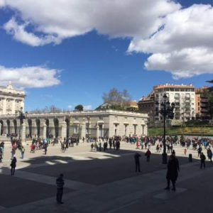 queue of the royal palace in madrid