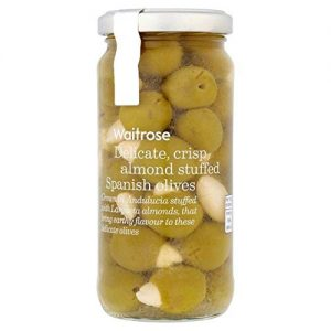 Waitrose Manzanilla Almond Stuffed Spanish Olives 240g