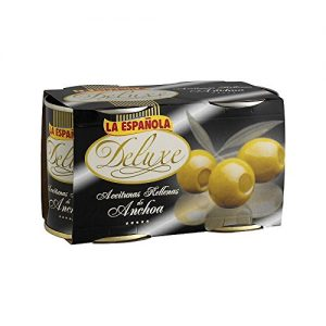 La Espanola Deluxe Olives Stuffed with Anchovy – Aceitunas Rellenas de Anchoa 2 pack of 200g each