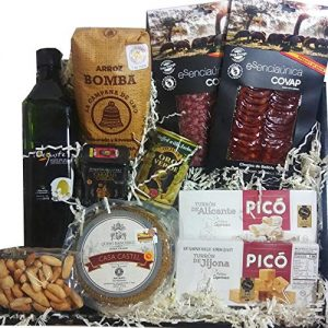 Spanish Gourmet Food Gift Basket 4: bellota acorn fed chorizo sliced, salchichon sliced, manchego cheese 1Kg, turron jijona, alicante, nougat, olive oil, ...