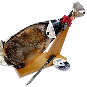 Serrano Ham Leg by Fermin, 12-13 lb, 20-25 Servings + Ham Holder, Carving Knife + Guide